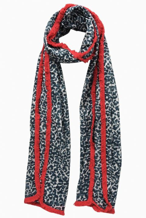 GREY RED EDGE SCARF